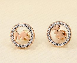 Wholesale Newest Earrings Style - New Style Fashion Smooth Rhinestone Earrings Round Heart Shape Hollow Letter M Charm Ear Stud for Women Lady Girl Jewelry Newest