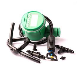 manguera del temporizador de riego Rebajas Un conjunto de manguera de 8/11mm Conecte 8pcs Upside Down Micro-Spray 1pc Tiempo de riego y 4 / 7mm Hose Garden Irrigation Kit