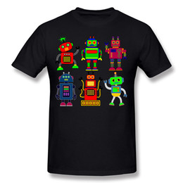 Wholesale Print Robot - Luxury Men 100% Cotton Robot Tee-Shirt Men O-Neck Orange Short Sleeve T Shirts S-6XL Geek Tee-Shirt