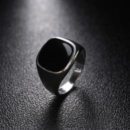 Wholesale Nice Polish - whole sale1 Pcs Fashion Vintage Solid Polished Jewelry Classic Fashion Minimalist Design Silver Golden Color Black Finger Ring Nice Gift