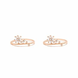 Wholesale beautiful china girls - rose gold color daisy flower CZ beautiful cute flower fashion ring pertty girl gift 2018 new arrived delicate CZ JEWELRY rings
