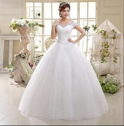 Wholesale large bridal gowns - New 2018 Korean Style Wedding Bridal Dresses Double Shoulders Lace Up Large Size Wedding Dress Vestido Casamento