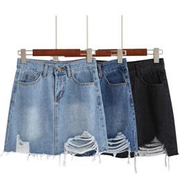 873b03475f TingYiLi Jeans de cintura alta falda negro agujero azul rasgado faldas de  mezclilla Mujeres coreano escuela niña una línea mini falda verano