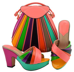 wedges bag set Coupons - Top selling peach and colorful women pumps with a big bag set african shoes match handbag for dress MD008,heel 10.5CM