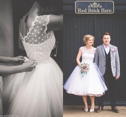 Wholesale Tea Length Polka Dot Dress - Vintage Reto 1950S Polka Dot Tulle Short Wedding Dress With Bow Back Tea Length Little Applique White Vestidos de Novia Bridal Gowns