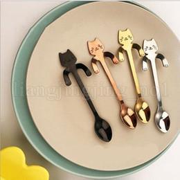 Wholesale long spoons ice tea - 3 different style of Creative Stainless Steel Cartoon Cat spoons Ice Cream Dessert Long Handle Coffee Tea Spoon MMA144