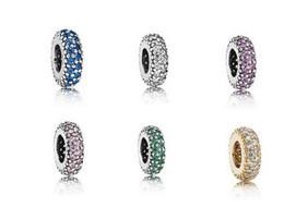 2019 cristalli europei fascino Argento pavimentato distanziatore di cristallo fascino argento sterling europeo perlina grande foro fit pandora bracciali catena del serpente moda gioielli fai da te cristalli europei fascino economici