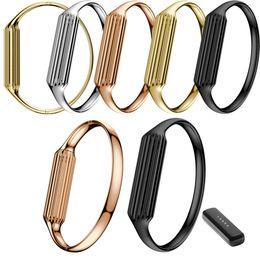 Atacado-Hot Acessório Genuine Stainless Steel Watch Band luxo inteligente pulseira pulseira para Fitbit Flex 2 Silver Black Gold supplier gold smart watches de Fornecedores de relógios de ouro