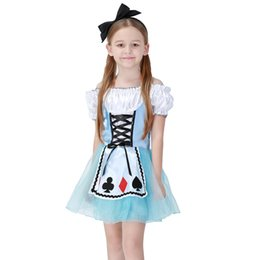 Wholesale maid clothing - Girls Halloween Costumes Alice in Wonderland Dress Cosplay Stage Wear Cards Poker Maid Clothes Sets Kids Party Fancy Ball Cloth
