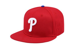Wholesale basic hats - Classic Basic Red Color Phillies Snapback Hats With White P Letter Embroidery Bones Sports Baseball Flat Caps For Men's Women's