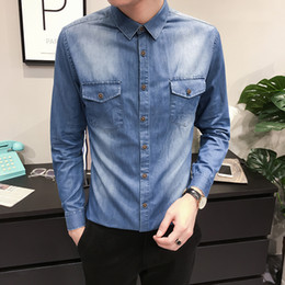 2019 camisas de bolso duplo homens Homens de alta Qualidade Camisa Nova Marca de Outono Slim Fit Casual Camisas dos homens de Manga Comprida Dianteira Dupla Bolsos de Negócios Masculino Camisa 3XL-M camisas de bolso duplo homens barato