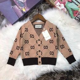 Algodón para niños online-2d79 Otoño E Invierno Suéter Puro Algodón Cuello Redondo Suéter Niños niños cardigans de punto