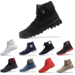 Mens winter high top sneaker schuh online-Top Fashion PALLADIUM Pallabrouse Männer Hohe Armee Militär Ankle mens frauen stiefel Canvas Sneakers Casual Man Anti-Slip designer Schuhe 36-45