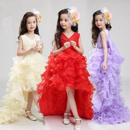 Wholesale Baby Girls White Formal Dress - Hot baby girls sleeveless skirt cute baby girls children dress princess wedding dress party Floor-Length dress can detachable