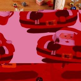Wholesale Red Placemats - Wholesale- 2016 2015 Christmas Santa Claus Placemats Mat Place Mat Pads With Napkin Dinner Dining Table Christmas Supplies Decorations