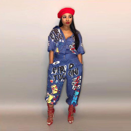 Wholesale denim rompers - graffiti Print Summer Jumpsuits outfit Denim Jeans Button 2018 Bandage women casual sexy fashion Jumpsuits Rompers LD8103
