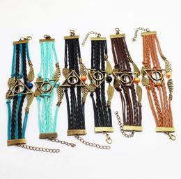 Canada Vintage En Cuir Corde Harry Deathly Hallows Bracelets Tissage À La Main Multicouche Rétro Potter Bracelets pour les Fans De Film Cadeau Bijoux en gros Offre