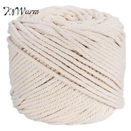 KiWarm Durable 4mmx100m Natur Beige Weiß Makramee Baumwolle Twisted Cord Seil DIY Heimtextilien Zubehör Handwerk von Fabrikanten