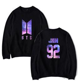 Wholesale k pop fashion - BTS Love Yourself Pullover Women Men K-pop Hip Hop Bangtan Boys Jumper Sweatshirts Fashion flower printed Harajuku Clothes 4XL