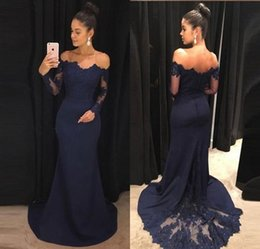navy blue occasion dresses women Coupons - Elegant Navy Blue Lace Long Sleeve Evening Dresses Off Shoulder Chiffon Evening Gowns Floor Length Formal Women Special Occasion Dresses