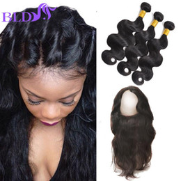 Wholesale Cheapest Body Wave Brazilian Hair - Cheapest Brazilian Hair Bundles With Closure Body Wave Bundles With 360 Frontal Pre Plucked 360 Lace Frontal With Bundle