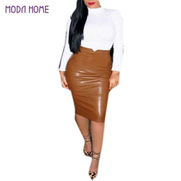 Wholesale Plus Size Leather Pencil Skirt - XXL Hot Sale Women Soft PU Leather Skirt High Waist Slim Hip Pencil Skirts Vintage Bodycon OL Midi Skirt Sexy Clubwear Plus Size