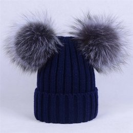 Wholesale Pink Fox Fashion - Adult-Soft large Real Genuine Silver Fox Fur With 2 Pompom Ball Knitted Hat Beanie Cap