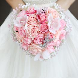 hochzeit blumen rosa orange bouquet Rabatt IFFO kundenspezifisches kreatives traditionelles rosa rosa Orange tont die Brauthochzeitshand, die Blumen Herz-förmigen koreanischen Rosenblumenstrauß hält