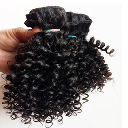 Wholesale Kinky Hair Weave Styles - Brazilian Peruvian Virgin human hair weft European Kinky Curly hair Short Bob Style 8-12inch Beautiful Indian remy Hair extension in stock
