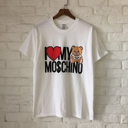 Wholesale Collar Bear - 2018 new style fashion cotton Round collar short-sleeved T-shirtLittle bear letter printing Men and women with money 4color S--XL