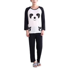 2019 pigiami lungo panda Pigiami Autunno Cartoon Panda maniche lunghe Pigiama Pullover Set Sleepwear Casual pigiami lungo panda economici
