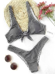 Wholesale Thong Front - Women New Thong Plaid Front Tie Bikini Set Mid Waisted Plaid Plunging Neck Swimsuit Sexy Summer Beach Swimwear