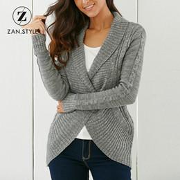 1296b52878 STYLE Winter Shawl Collar women V neck Button up rib knit Irregular Slim sweater  Cardigan gray pull femme hiver C18110801
