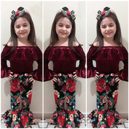 Wholesale 18 24 Months Costume - New Baby Girl Off Shoulder Velvet Top+Flower Bowknot Bellbottoms+topknot 3pcs set Oufit Kids Girls Clothing Toddler Fashion Boutique Costume