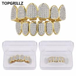 Canada TOPGRILLZ Plaqué de couleur dorée CZ Micro Pave Exclusive luxe TopBottom Gold Grillz Set Hip Hop Classic Grilles de dents Offre
