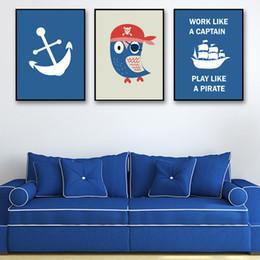 Poster Nordic Style Wand Kunstdruck HD Cartoon Eule Piraten Navy Anchor  Segelboot Leinwand Gemälde Bilder Für Wohnzimmer Wohnkultur