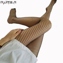 Wholesale Over Knees Knit Stocking - Black medium grid SEXY women high waist stocking fishnet club tights panty knitting net pantyhose trouser mesh lingerie TT016