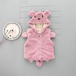 Wholesale Child Pink Fur Vest - 2017 Faux Fur Vest Kids Winter Warm Cute Cartoon Ear Cap With Tail Thickened Vest Jacket Children S2