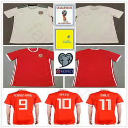 copos rápidos Desconto 2018 copa do mundo camisa de futebol gales 10 RAMSEY 11 BALE GIGGS SPEED ROBSON KANU RUSH CHESTER ALLEN Personalizado casa longe galês camisa de futebol