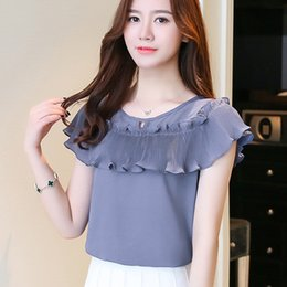 Wholesale womens office shirts - Womens Tops Shor Sleeve Casual Chiffon Blouse Female O-Neck Work Wear Solid Color Office Shirts Blouses For Women Blusas D761 30