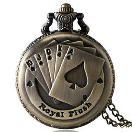 Wholesale steampunk watches men - Fashion Royal Flush Poker Pattern Quartz Pocket Watch Men Women Children Steampunk Style Necklace Chain Clock Gift