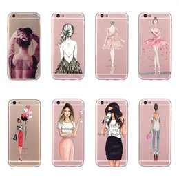 Wholesale Drink Phone Case - 10 pcs Phone Case For iPhone 7 Plus 8 Plus 6 6s Plus 5 5s SE X Beautiful Shopping Girl Drink Coffee Drinks Soft Silicone Cover Fundas Coque