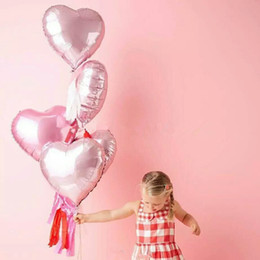 Wholesale I Balloons - 5pcs 18 inch Pearl Pink Love Heart Foil Balloons Helium Balls Wedding Birthday Party Decoration i love you Marriage Globos orbs
