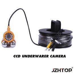 Luces de video bajo el agua online-Cámara CCTV a prueba de agua para pesca submarina CCD Fish Finder Cámara de video Cable de 20 metros Luces LED blancas