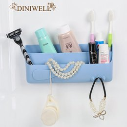 Wholesale key holders for wall - DINIWELL Multi Bath Strong sticky Plastic Storage Box For Cosmetic Hook Hanger Home Wall Door Side Key Zakka Holder Organizer