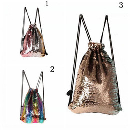 Wholesale String Gym Bags - Mermaid Sequins Drawstring Shoulder Bag Reversible Sequin Backpack Glittering Dance Bag Shopping Travel Sports Gym Bags 3 Colors 50 OOA3981