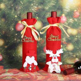 Bolsas de tela online-Merry Christmas Wine Bottle Bag Covers String Tie Neck Santa Claus Deer 3D Bottle Decor Holder Cover Bags Clothes Fiesta de Navidad