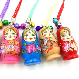 Wholesale charms for iphone - Cartoon Wooden Matryoshka Doll Russian Doll Phone Chain Key Pendant Accessories Toys For Iphone Adroid Smart Phones