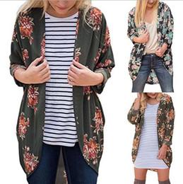 Wholesale Vintage Cardigan Xl - Women Vintage Rose Floral Loose Shawl Kimono Cardigan Boho Tops Jacket Blouse Floral Printing Long Shirts OOA3870
