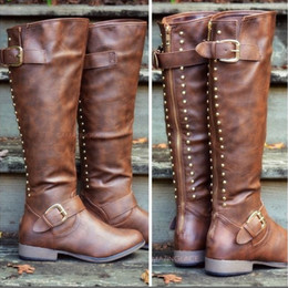 98892d3611b8 XingDeng Western Buckle Rivets Motorcycle Boot Shoes Ladies Flat Long  Spring Autumn Riding Boots Shoes Pu Leather Size 34-44